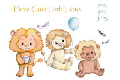 Three Cute Little Lions.