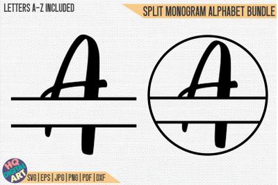 Split Monogram Alphabet Bundle SVG | 2 Letter Designs