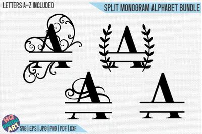 Split Monogram Alphabet Bundle SVG   4 Letter Designs