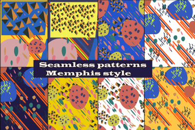 8 Seamless backgrounds memphis style