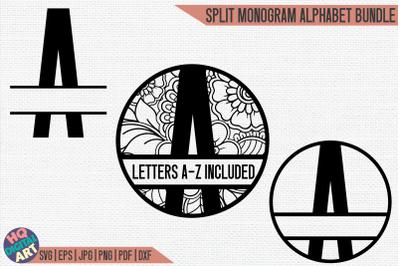 Split Monogram Alphabet Bundle SVG   3 Letter Designs