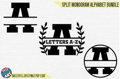 Varsity Split Monogram Alphabet Bundle SVG   3 Letter Designs