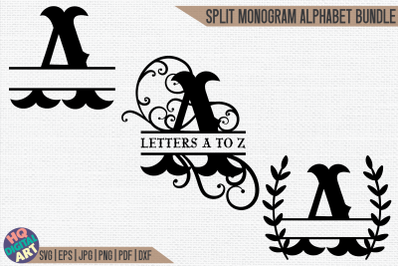 Western Split Monogram Alphabet Bundle SVG   3 Letter Designs