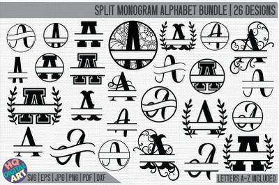 HUGE Split Monogram Alphabet Bundle SVG | 26 Split Letter Designs