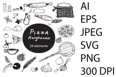 Pizza SVG. Margherita pizza.