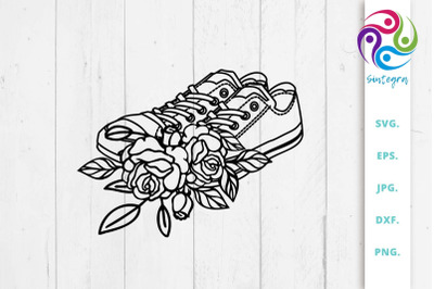 Floral Sneakers Svg File