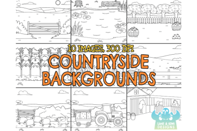 Black and White Countryside Backgrounds Clipart - Lime and Kiwi Design
