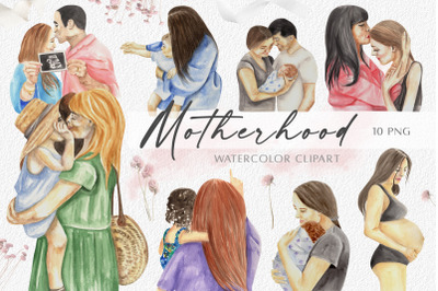 Watercolor Mother's Day Clipart. Motherhood, Family, Newborn