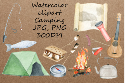Watercolor Clipart Camping. Hand draw travel items.JPG,PNG