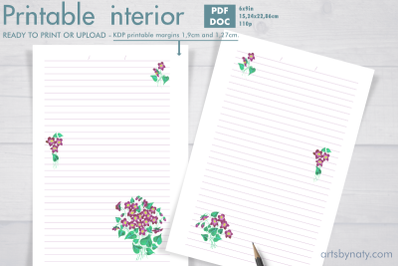 Violet flowers - printable KDP journal.