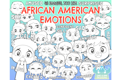 African American Kids Emotions Digital Stamps - Lime and Kiwi Designs