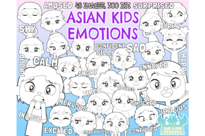 Asian Kids Emotions Clipart - Lime and Kiwi Designs