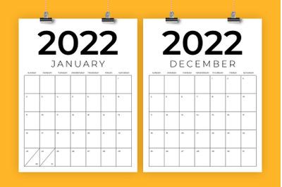 Vertical 8.5 x 11 Inch 2022 Calendar