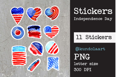 Stickers Independence Day, USA. PNG.