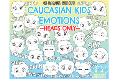 Caucasian Kids Emotions - Faces Digital Stamps - Lime and Kiwi Designs