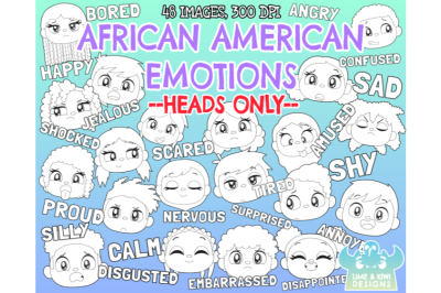African American Kids Emotions - Faces Digital Stamps