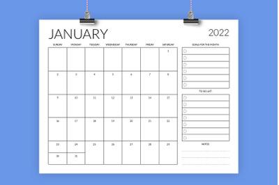 8.5 x 11 Inch 2022 Planner Calendar