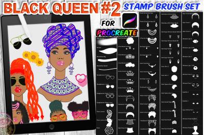 Black Queen 2 Braid Hair Procreate Brush Set Character Design