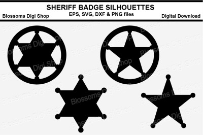 Sheriff Badge Silhouettes SVG, EPS, DXF and PNG cut files
