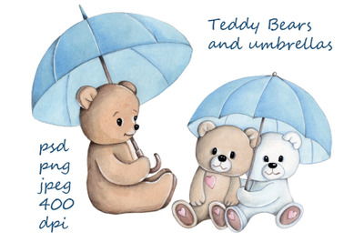 Two teddy bears under umbrella. Watercolor illustrations.