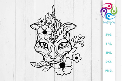 Floral Abstract Cat SVG File