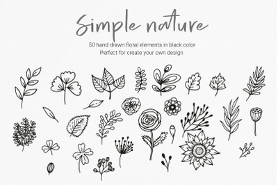 Hand Drawn Floral Clipart, PNG, EPS, SVG