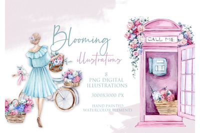 Watercolor Blooming City Illustrations