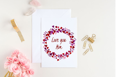 Mother's Day card with heart wreath. Love you mom card. 5x7 inch