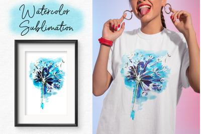 Watercolor Sublimation design. Summer T shirt PNG 300 DPI