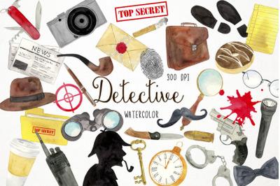 Watercolor Detective Clipart, Secret Agent Clipart