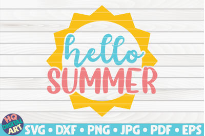 Hello summer with sun SVG