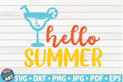 Hello summer with drink SVG