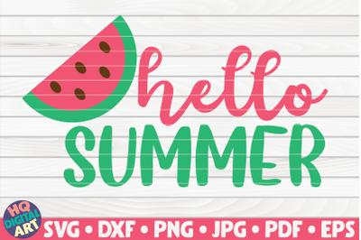 Hello summer with watermelon SVG