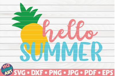 Hello summer with pineapple SVG