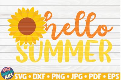 Hello summer with sunflower SVG