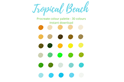 Tropical Beach Procreate Palette X 30 Colours