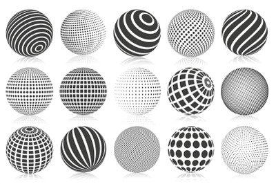 Dotted halftone 3d sphere. Striped, dotted and checkered 3d spheres, a