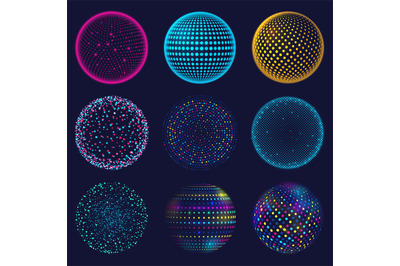 Dotted neon 3d sphere. Abstract atomic dotted spheres, 3d grid glowing