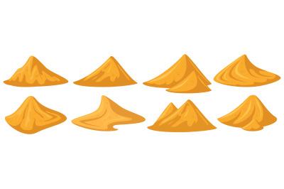 Sand piles. Yellow sandy heap, construction building material piles, b