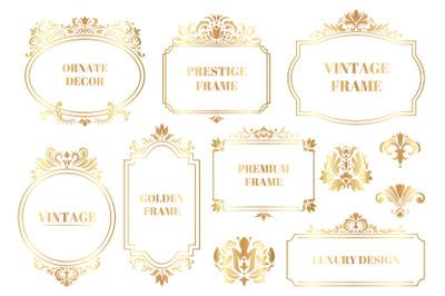 Damask ornamental frames. Antique baroque floral golden border frames