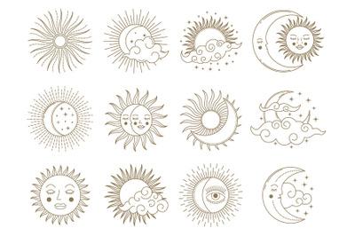 Magical moon and sun. Golden boho astrology elements, sun, moon, stars