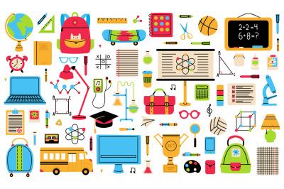 Back to school elements. School hand drawn symbols, globe, school bus,