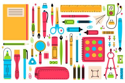 School chancellery. Pupils education hand drawn school supplies, penci