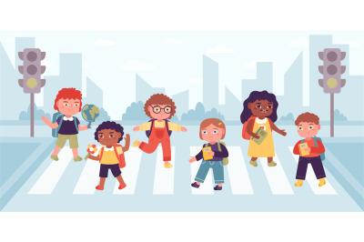 Crosswalk children. Elementary school pupils crossing street on cross