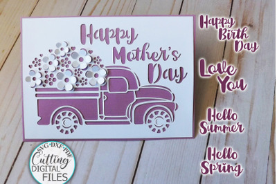 Pop up Floral car Birthday Mothers Day card svg dxf cut out