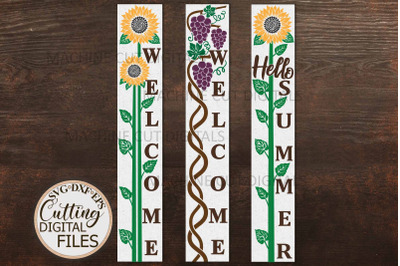 Sunflower Grapes welcome long sign Hello summer sign svg