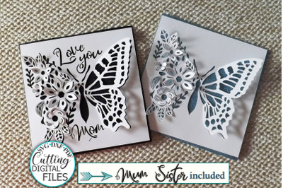 Pop up floral butterfly Mothers Day Sister Love you svg card