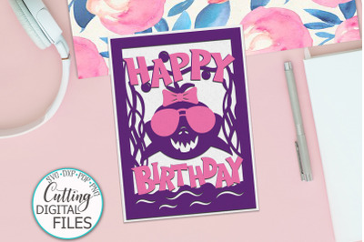 Girl Birthday Shark card for paper cut template svg dxf file