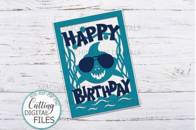 Boy birthday shark svg cut out card