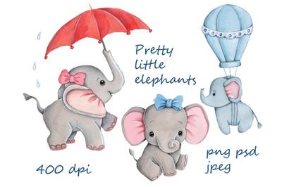 Pretty Little Elephants. Watercolor illustrations for children.